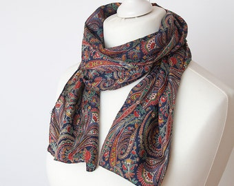 """vintage long scarf, retro orient scarf, polyester scarf, fabric women scarf shawl 30x128cm / 12x50"""" paisley navy red"""
