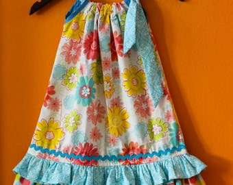 Flower Dress; Puffy Pillowcase dress with multiple ruffle; Birthday Dress; Size Made to order
