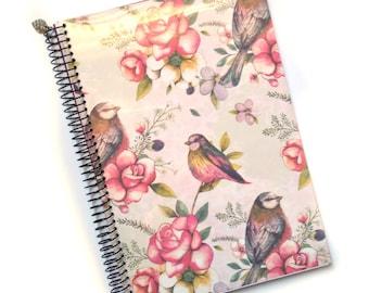 Craft book A5 |  Decoration birds and flowers | Handmade notebook