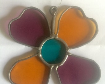 Vintage Flower Stained Glass Suncatcher