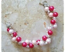 Pearl and crystal entwined bracelet cuff|gifts for her|stocking fillers|free postage