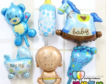 Hot Sale 6pcs/lot Angel Baby Shower Foil Balloons Baby Boy Girl Birthday Party Decorations mini bear+baby+foot+bottle Balloon