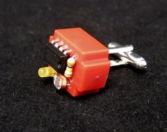 Electronic component steampunk cufflinks (red breadboard)