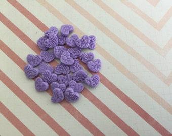 Edible fondant sugar mini heart sprinkles for cake, cupcake, topper