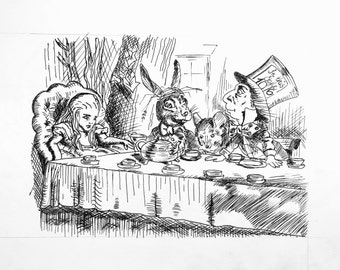Customized Pen and Ink Drawing of Alice In Wonderland; The Tea Party