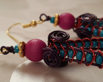 Woven Wire Earrings with Teal Beads