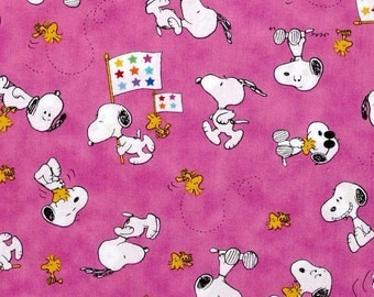 """The Peanuts Snoopy Cartoon Fabric:  Peanuts Project Linus Snoopy & Woodstock Toss PINK 100% cotton Fabric by the yard 36""""x43"""" (QT29)"""