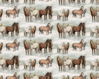 """Christmas Fabric/ Horse Fabric: Winter Still Horse Fabric 100% cotton 44"""" wide fabric by the yard 36"""" (H12)"""