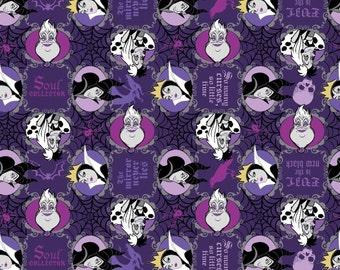"Disney Fabric: Disney Villains Fabric Evil Is The New Black - Purple 100% cotton Fabric By Yard 43""x35"" (G162)"