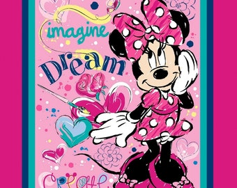 "Disney Fabric Panel- Disney Minnie Mouse Fabric Imagine Dream Create 100% cotton Fabric by the panel 35""x44"" (SC76)"
