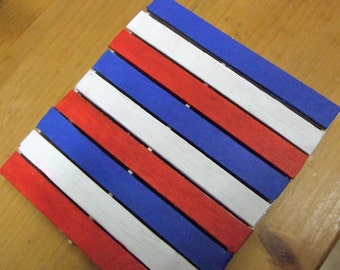4 July, USA , independence day, Wooden ,painted Pallet Drinks Coaster