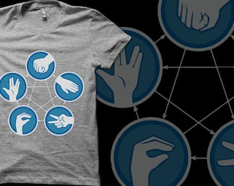 Rock, Paper, Scissors, Lizard, Spock - male or female t-shirt