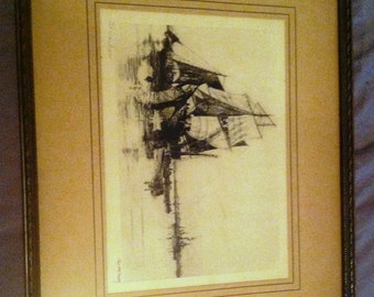 "Charles Mielatz, ""At Harbor"", SIGNED Etching"