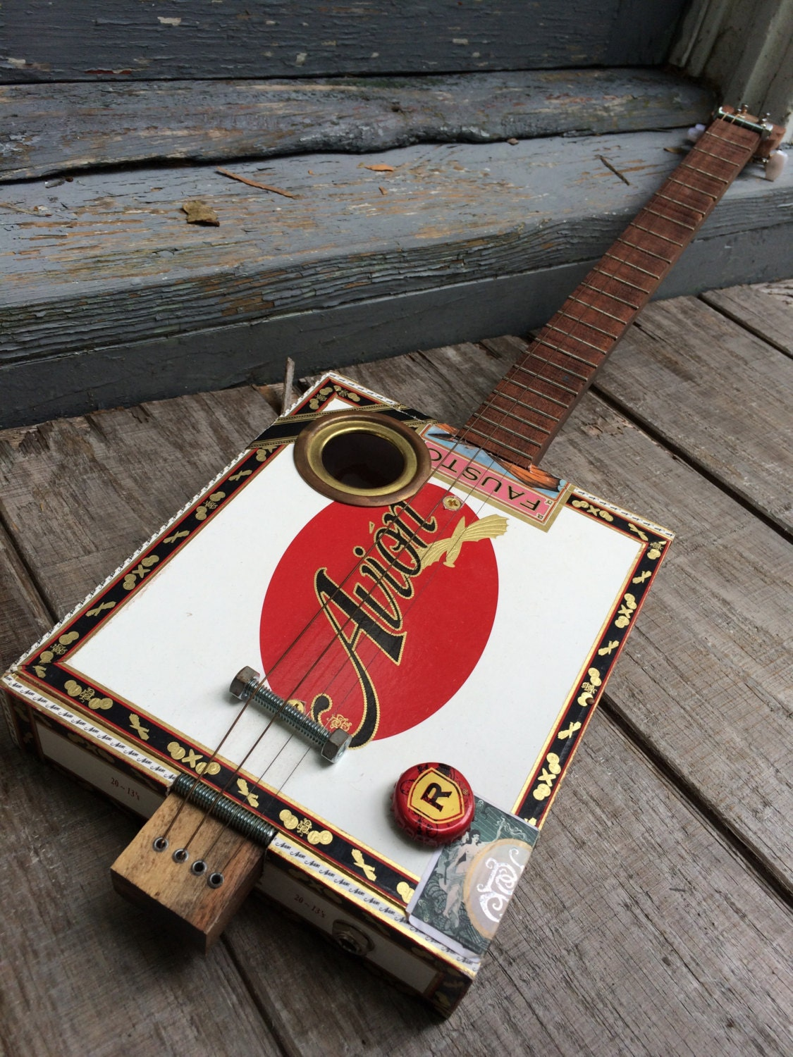 4 string fretted acoustic electric cigar box guitar. Black Bedroom Furniture Sets. Home Design Ideas