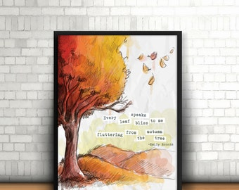leaf speaks bliss quote print, autumn tree wall art, emily bronte quote download, digital fall home decor, fall decoration, digital download