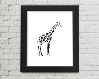 Popular Wall Art, Black and White, Nursery Print, Giraffe Wall Art, Safari Animal Print, Zoo Animal, Printable Art, Instant Download, JPEG