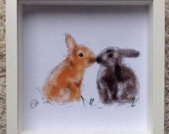Framed rabbit print // cute bunnies // gifts for rabbit lovers // peter rabbit nursery // rabbit nursery decor // rabbit home decor