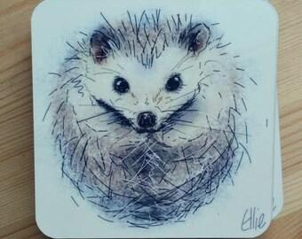 Set of 4 hedgehog coasters // hedgehog coasters // hedgehog gifts // hedgehog art // hedgehog home decor // hedgehog kitchenware