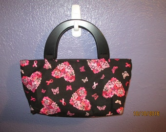 Black and Pink Breast Cancer Purse