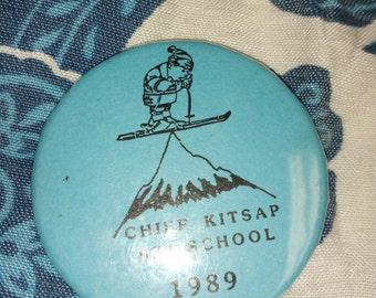Vintage Button Chief Kitsap Ski School 1989