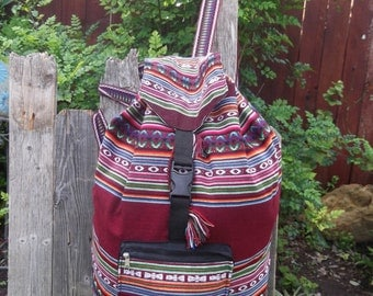 Cotton Woven Tote Bag Back Pack Adult Size School  Market Shopping Travel Assorted Colors Lined Adjustable Straps
