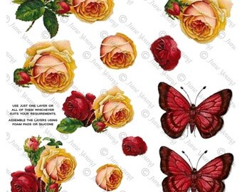 Red and Yellow Roses and Butterflies