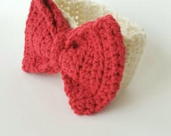 Newborn Girls Cream and Dark Pink Headband