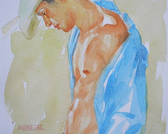 original artwork watercolour painting cowboy on paper#16-6-20-01