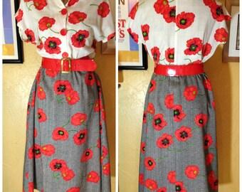 1950s poppy flower dress
