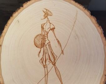 Natural wood art plaque