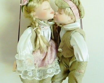 Vintage 80s Cathay Collection Porcelain Kissing Cousins Lifelike Boy Girl Dolls on Swing 1-5000 Collectors