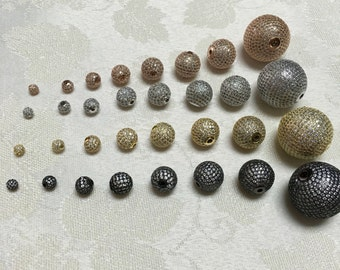 micro Pave 4,6,8,10,12,14,16,25mm round bead