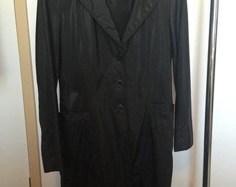 Vintage Trench Coat in Black Polyurethane size AU 12