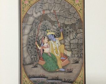 "Original Indian Miniature Painting: ""Radha & Krishna"""