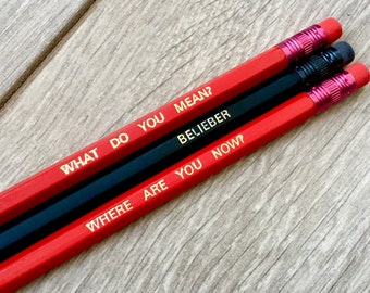 JUSTIN BIEBER Pencil Set, Set Of 3 Quote Pencils, School Supplies, Office Supplies, Back To School Sttionery, Writing Set, Bieber Gifts!