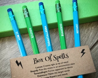 PENCILS: Box Of HARRY POTTER Spells! Engraved Quote Pencils, Harry Potter Fan Gifts, Harry Potter Party Gifts, Stationery Set, Small Gifts!