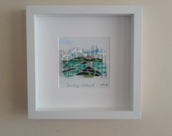 A&M Dalkey Island fused glass picture