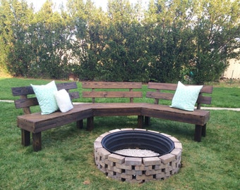 Outdoor Fire Pit Bench, Fire Pit, DIY Fire Pit Bench, Outdoor Bench, Rustic Bench, Summer Bench