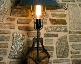 Antique Barn Pulley & Ceramic Table Lamp