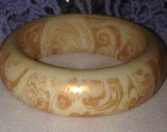 Vintage Cream and Peach Scroll Bracelet