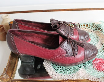 Vintage Amalfi Cartmells Keswick Italian Maroon Burgundy Leather Brogue Tassel Heels Shoes Size UK 7 EU 40 US 9
