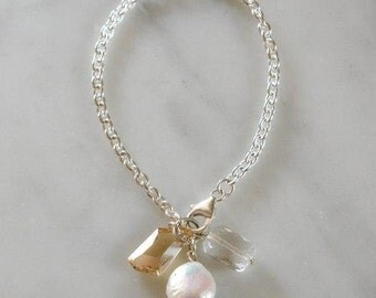 Sterling Silver Bracelet with Pearl and Quartz