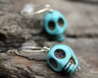 Sterling Silver Turquoise Skull Earrings