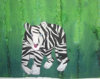 Wall Quilt, Art Quilt, White Tiger, Home Decor, Wall Hangings, power animal