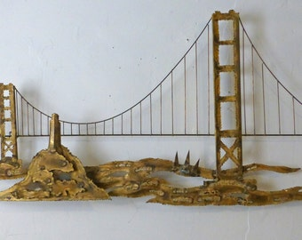 Midcentury Modern Torch Cut San Francisco Bridge Wall Art