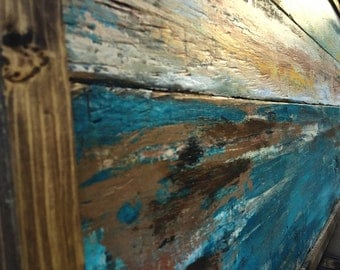 Reclaimed wood art, wall art, wooden, blue brown painting, wood painting,