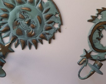 Vintage Turquoise and Brass Sun and Moon Candle Holders, 1994