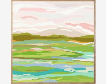 Landscape Art Print, Abstract Landscape Print, Mid Century Modern, Modern Abstract Art, Landscape Wall Art, Minimalist, Art Work 16x16