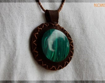 Leather and Malachite necklace