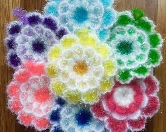 5 gift set flower shape handmade dish sponges dish scrubbies kitchen scrubbies